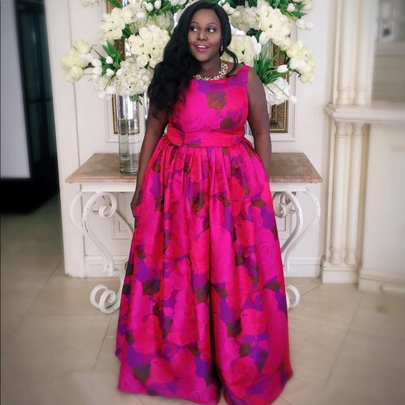 Adrianna Papell Dresses   Magenta Floral Ballgown Formal   Poshmark
